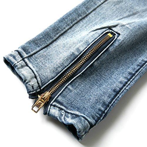Minetom Con Nero Denim Jeans Distrutto Alla Fit Pants Scuro Cerniera Pantaloni Blu Skinny Uomo Cuciture Moda Strappati ggwaqrz