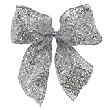 Pack of 6 Sparkling Sheer Silver Glitter Drenched 2 Loop Christmas Bow Decorations 5''
