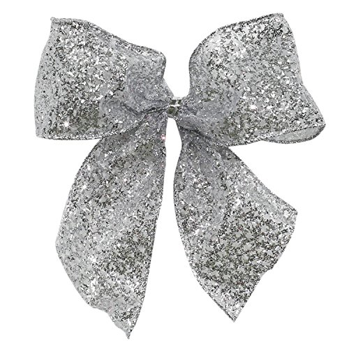 Pack of 6 Sparkling Sheer Silver Glitter Drenched 2 Loop Christmas Bow Decorations 5'' by St. Nicks Choice