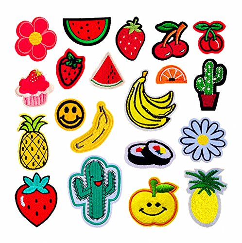 20pcs Embroidered Cloth Patches Iron-on or Sew-on Decorative Repairing Motif Badges Applique Dress Accessories(Fruits,Assorted Colors&Sizes) ()