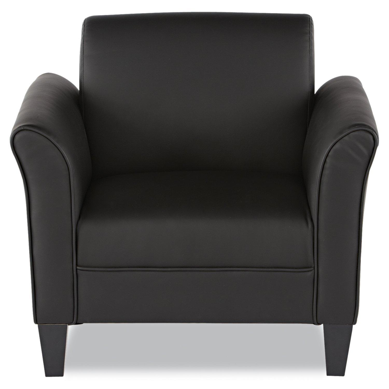 Black leather club chair - Amazon Com Alera Reception Lounge Series Club Chair Black Leather Kitchen Dining