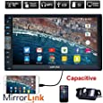 Upgarde Version 7 Inch Capacitive Touch Screen Audio (Mirror Link for GPS of Android Phone) Double 2 Din Car Stereo in Dash Video Auto Radio Without DVD Player+Rear View Camera