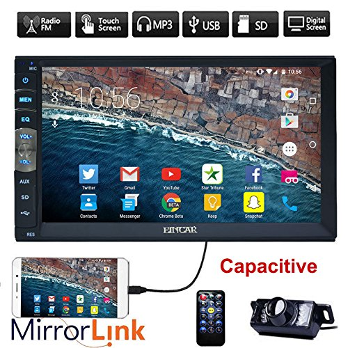 New Brand Upgarde Version 7 Inch Capacitive Touch Screen Audio (Mirror Link for GPS Android Phone) Double 2 Din Bluetooth Car Stereo In Dash Video Auto radio Without DVD Player+Rear View Camera (Car Video Player Bluetooth)