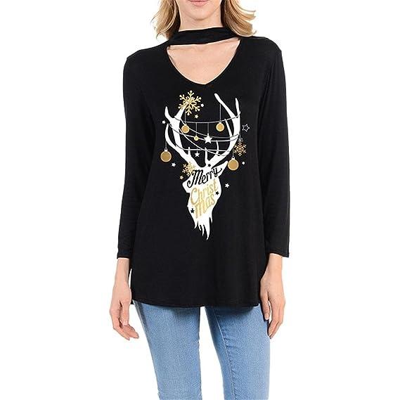 OverDose camisas mujer blusa V-cuello de Navidad impreso suelta casual