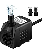 Lveal Water Pump 300GPH (1200L/H, 21W) Submersible Pump, 48 Hours Dry Burning Fountain Submersible Water Pump for Aquarium, Fish Tank, Pond, Statuary, Hydroponics with 5.9ft Power Cord, 3 Nozzle