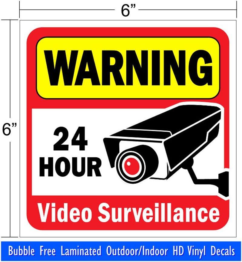 VIDEO SURVEILLANCE CCTV Security Decal  Warning Sticker set of 12  blue