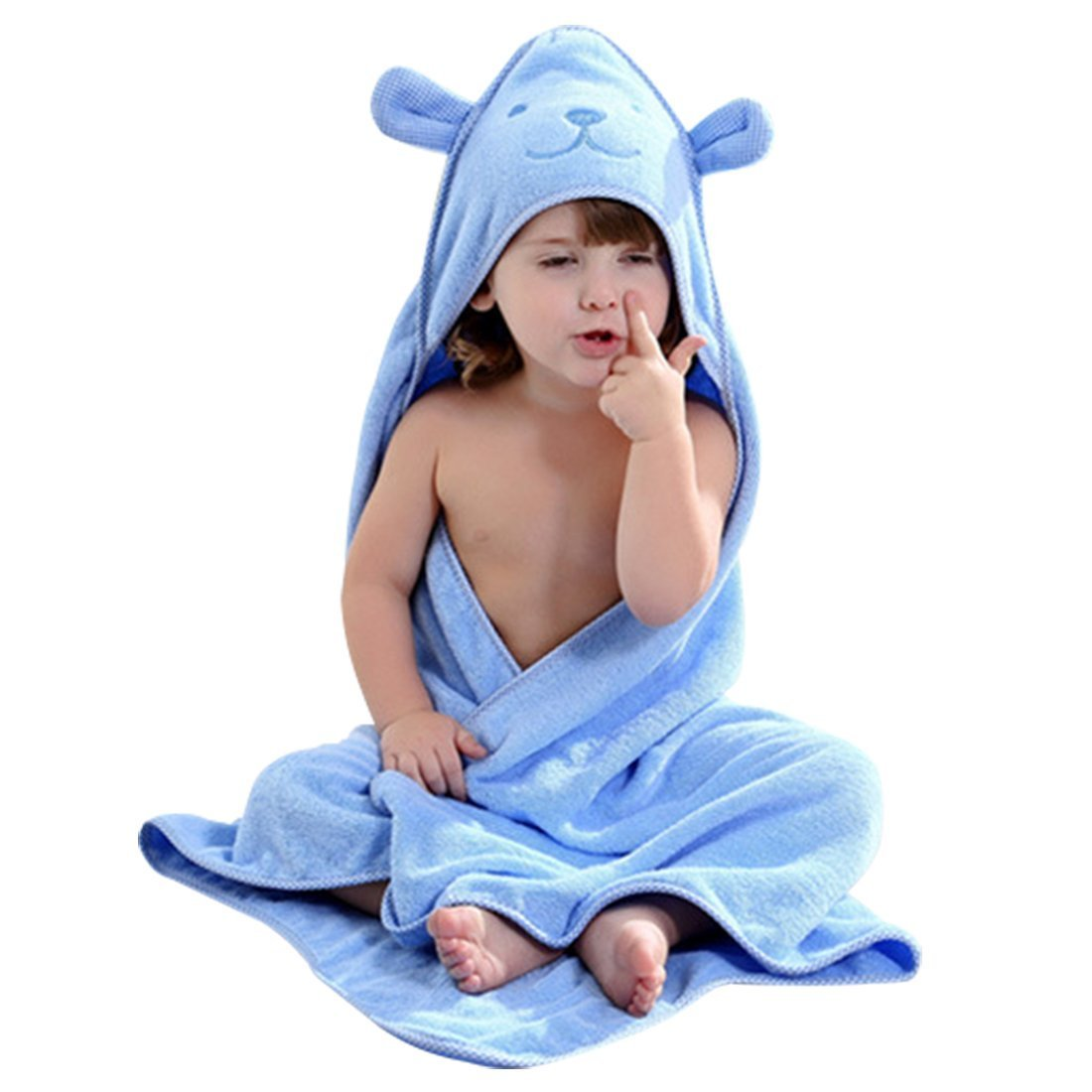 Baby Hooded Towel with Bear Ear- Soft and Thick 100% Cotton Bath Set for Girls, Boys, Infant ad Toddler, Good Choice (Blue)
