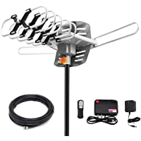 HDTV Digital Antenna -150 Miles Range w/ 360 Degree Rotation Wireless Remote - UHF/VHF/1080p/ 4K Ready(Without Pole)