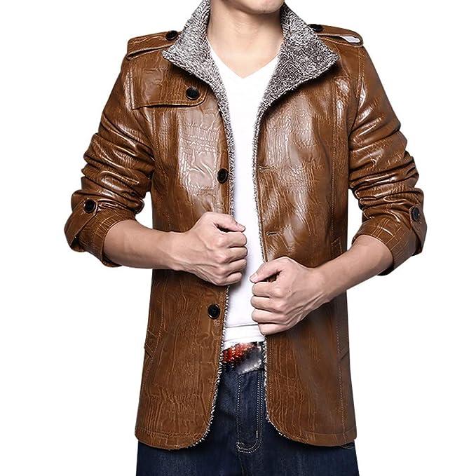 ZODOF Chaqueta de Hombres Chaqueta para Hombre Otoño Invierno Bolsillo Outwear Stand Collar Imitación de Cuero M-4XL: Amazon.es: Ropa y accesorios