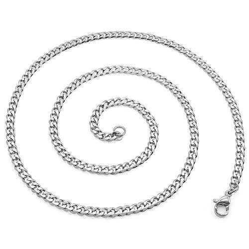 392638beae87f3 SoulCats® Halskette Königskette Panzerkette Edelstahl silber, Größe:3 mm,  Auswahl:Kette