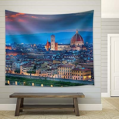 Florence, Italy at Sunset - Fabric Tapestry, Home Decor - 51x60 inches