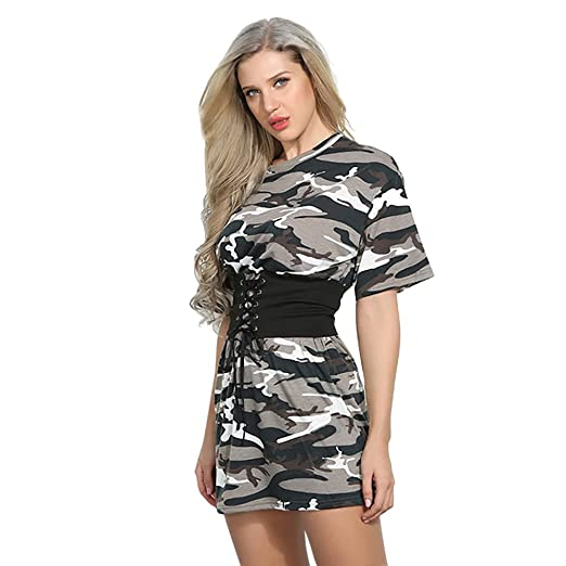 gagaopt Camo White Dress Summer Casual Loose