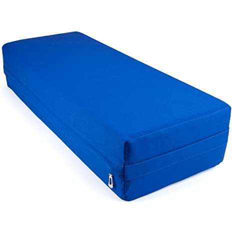 Large 26-inch Yoga Bolster and Meditation Pillow by Crown Sporting Goods (Blue)