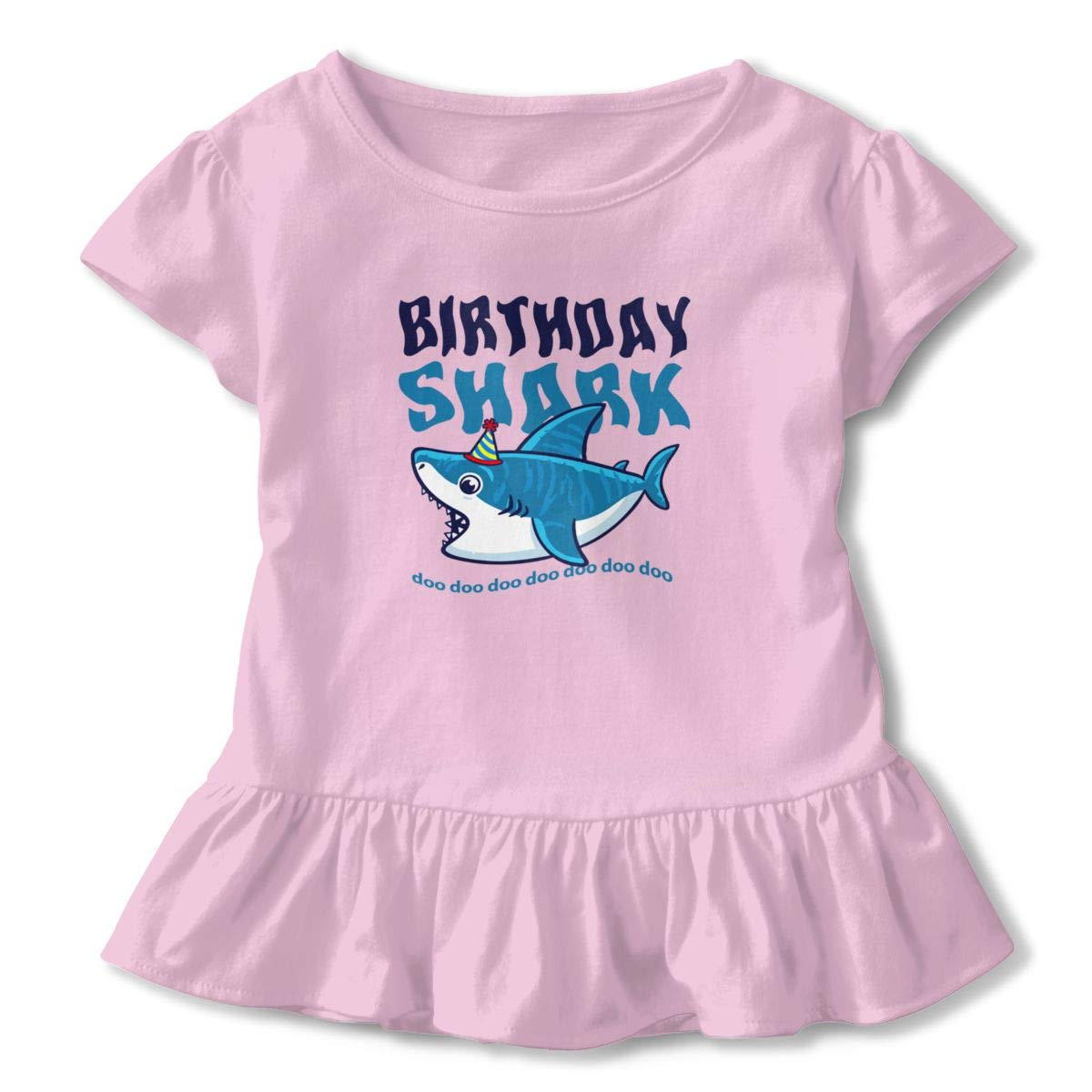 CZnuen 1st Birthday Shark Baby Girls Basic Short Puff Sleeve Round Neck Ruffle T-Shirt
