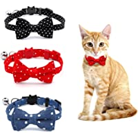 SLSON 3 Pack Breakaway Cat Collars with Bell Wave Point Kitten Collars with Cute Bow Tie for Pet Kitten Cats Adjustable…