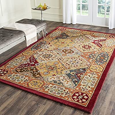 Safavieh Heritage Collection HG512C Handmade Traditional Oriental Multi and Ivory Wool Oval Area Rug
