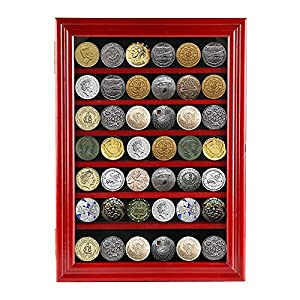 go2buy Military Challenge Coin Display Case Casino Poker Chips Cabinet Rack Holder With Door, Locable(Red)