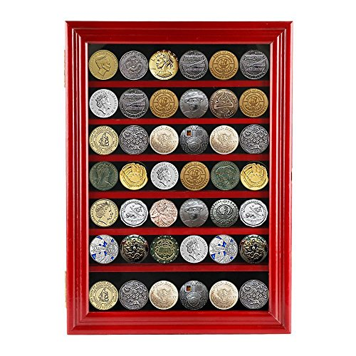 Yaheetech Challenge Coin/Medals/Pins/Badges/Ribbons/Insignia/Buttons Casino Chip Display Case Cabinet Holder Shadow Box (Casino Pin)