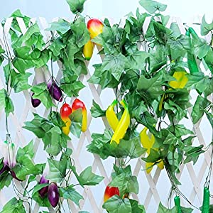 2pcs- Artificial Fruit Fake Vegetables Vines Ivy Hang Rattan Leaves Pipeline Cane Garland Wall Hanging Plant Wedding Party Home Garden Room Balcony artificial vine fence Decor 94 inch 42