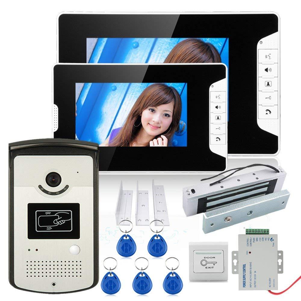 HD 720P contraseña inalámbrica video puerta teléfono timbre sistema de intercomunicación visión nocturna + cerradura magnética eléctrica de la puerta 180KG + control de acceso impermeable leizhi