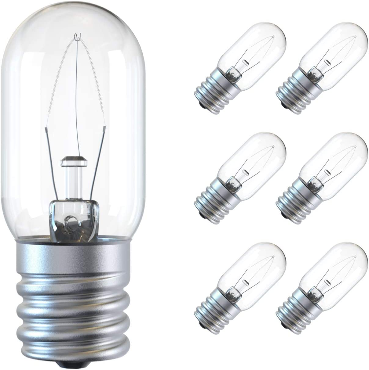 Appliance Light Bulb, 125V 30W Microwave Light Bulb Replacement Parts E17 Base Fits for Most GE Whirlpool Oven, Clear Incandescent T8 Oven Light Lamp(6 Pack)