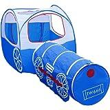 Tente de Jeu pour Enfants OUTAD Maison et Tunnel de Jouet Dessin Train Facile Pliant Portable Jardin/De plein Air/Intérieur (Bleu)
