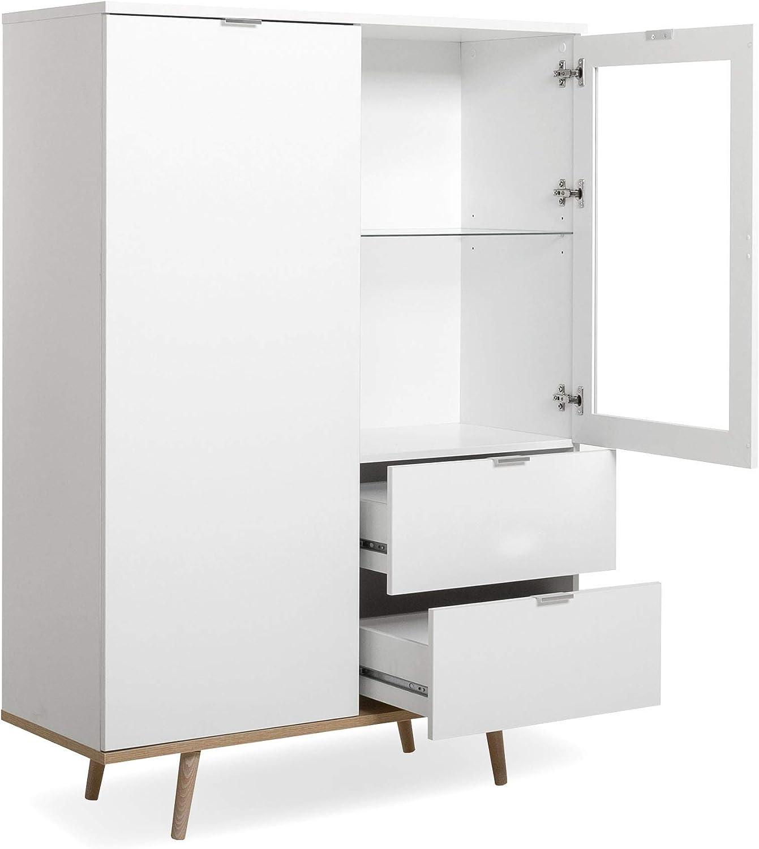 Newfurn - Cómoda escandinava, Armario Alto II 100 x 140 x 40 cm (Ancho x Alto x Profundidad), Color Blanco/Blanco, para salón, Dormitorio, Comedor: Amazon.es: Juguetes y juegos