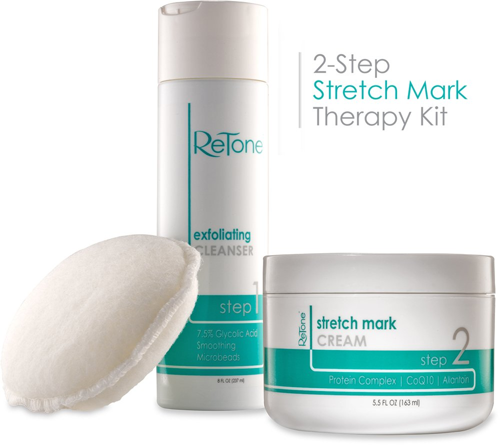 ReTone Stretch Mark Kit: Comprehensive Stretch Mark and Scar Therapy Solution (Stretch Mark Cream + Body Cleanser + Body Scrubber)