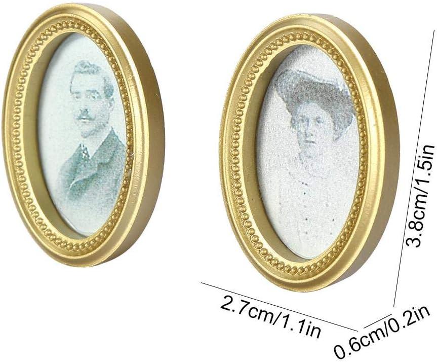 Wifehelper 2 Teile//Satz Puppenhaus Miniatur Rahmen Oval Rahmen Bild Mini Gerahmtes Bild Paar Fotos Wanddekoration Interessantes Spielzeug