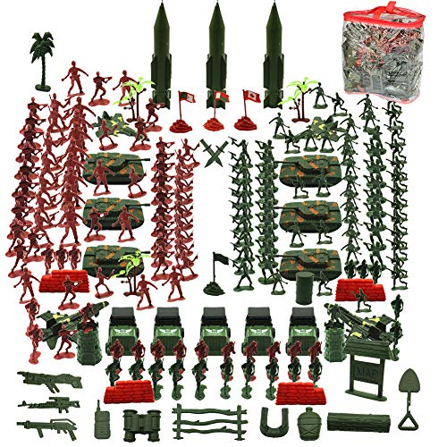THREE BEARS Army Men Playset,307 Pcs Army Action Figures Including Toy Soldiers,Sandbags, Tanks,Helicopters,Best Army Toys for Boys Girls and Adults