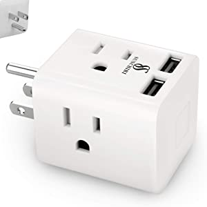 Multi Plug Outlet Extender with USB Charger, 4 Prong Electrical Power Outlets Wall Plug Splitter with 2 USB Ports, Multiple Plug Outlet/Socket Adapter Travel Charging Cube Power Expander