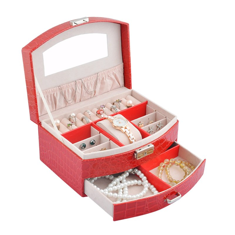 Lavie Leather New Travel Jewelry Boxes with Lock Women Jewelry Organizer Box with Drawer (Pink) NIRONG LAVIE CORPORATION LWSEWSX