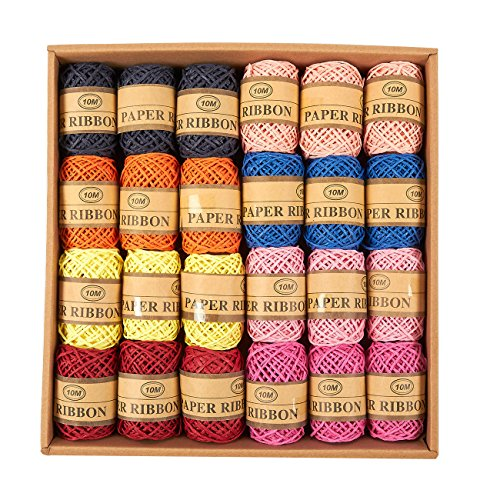 Juvale Natural Raffia Paper Twine Craft Gift Wrapping String, 8 Colors, (24-Pack) 11-Yard Each