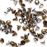 YMAISS 200 Sets Leather Rivets Double Cap Rivets for Leather Craft Repairing Decoration, 2 color Silver and Bronze,Tubular