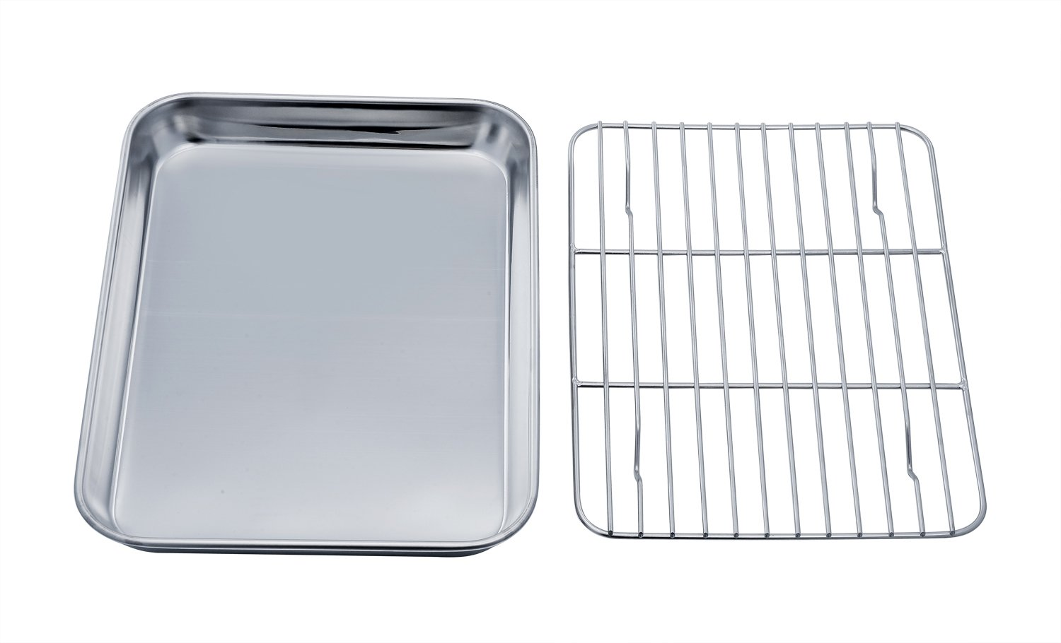 TeamFar Toaster Oven Tray and Rack Set, Stainless Steel Toaster Oven Pan Broiler Pan, Compact 7''x9''x1'', Non Toxic & Healthy, Easy Clean & Dishwasher Safe by TeamFar