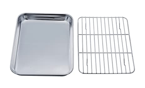 Amazon TeamFar Toaster Oven Tray and Rack Set Stainless