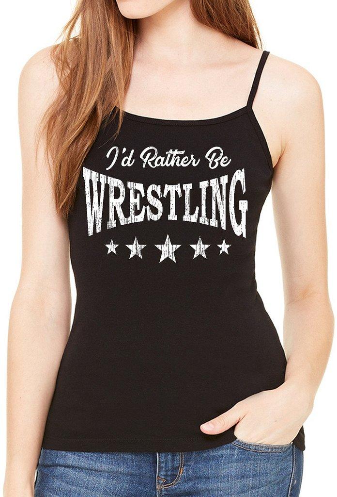 Junior's I'd Rather Be Wrestling Black Spaghetti Strap T-Shirt 2X-Large Black