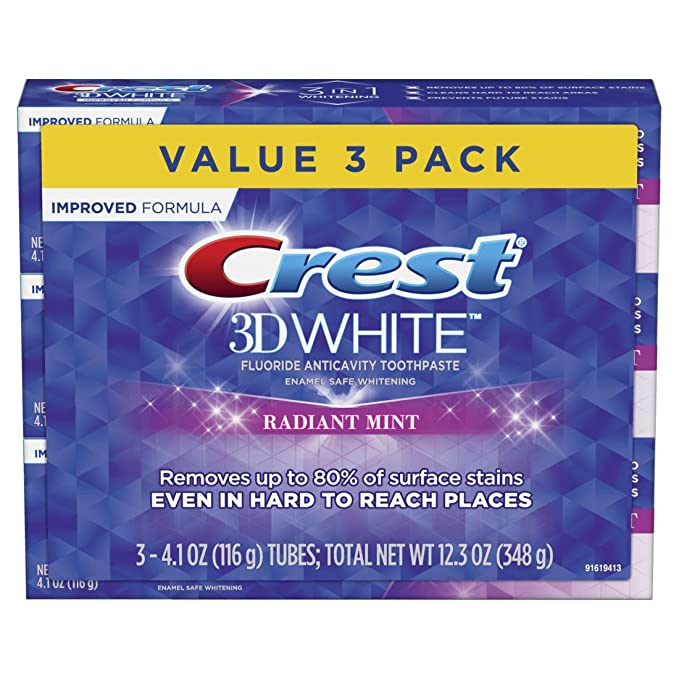 Crest 3D White Toothpaste Radiant Mint (3 Count of 4.1 oz Tubes), 12.3 oz Packaging May Vary
