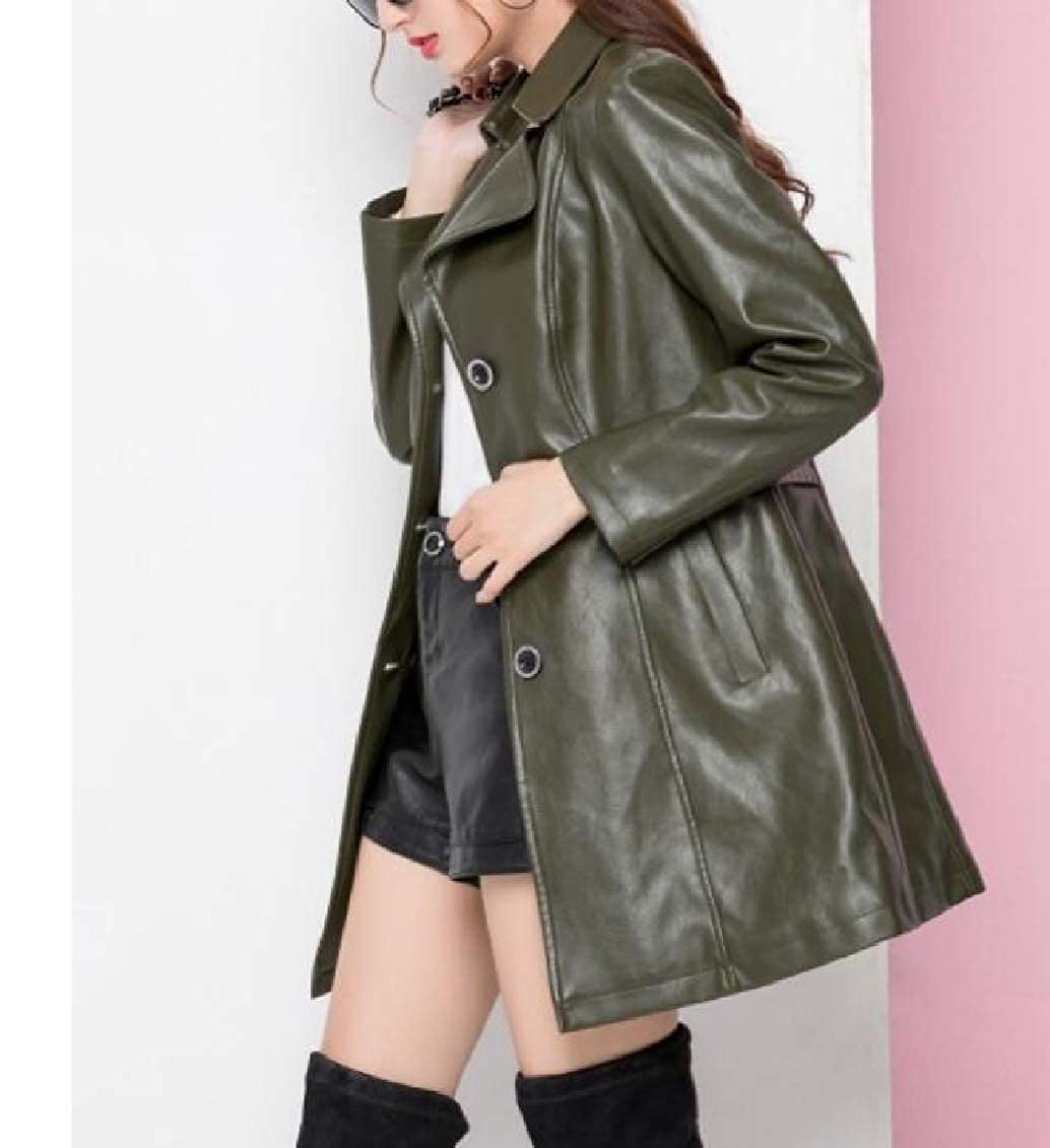 Hokny TD Womens Fashion Lapel Pu Leather Mid Long Single Breasted Jacket Peacoat