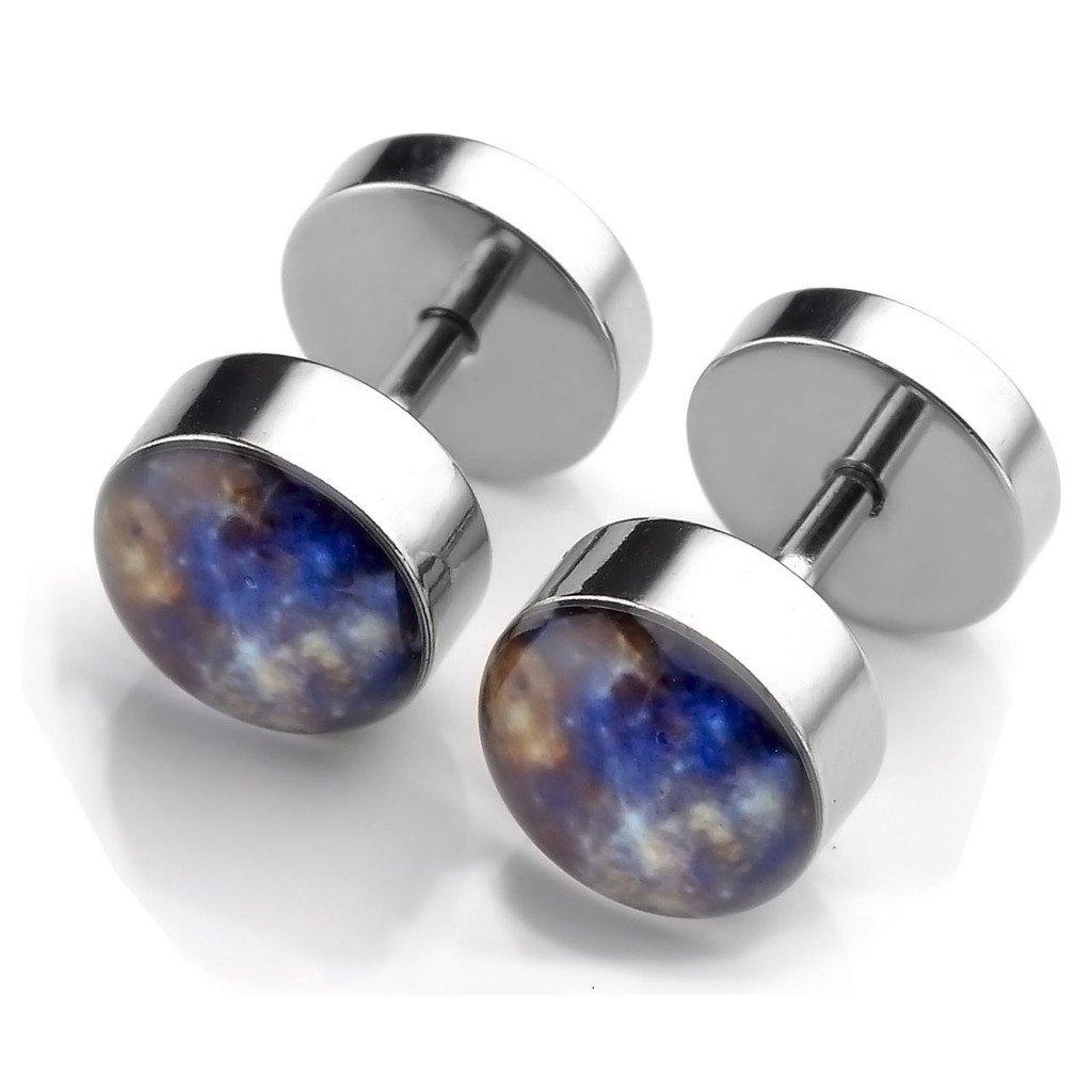 PiercingJ 2-12pcs 16G Solar System Galaxy Stainless Steel Stud Barbell Earrings Illusion Ear Plug 0G Gauge Look