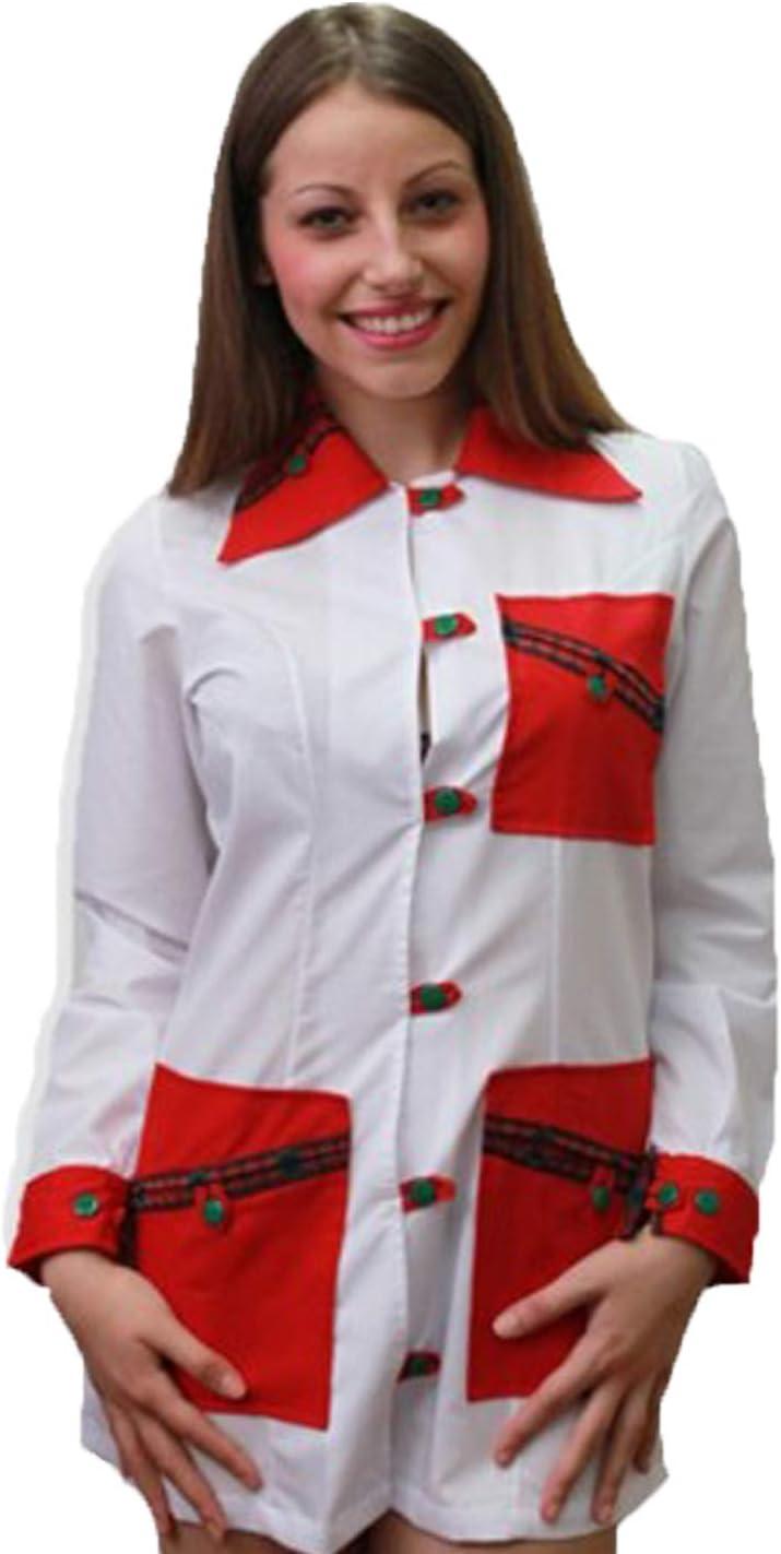 Bata casaca maestra escolar Asilo estética navideño trabajo botones algodón, verde, Medium: Amazon.es: Deportes y aire libre