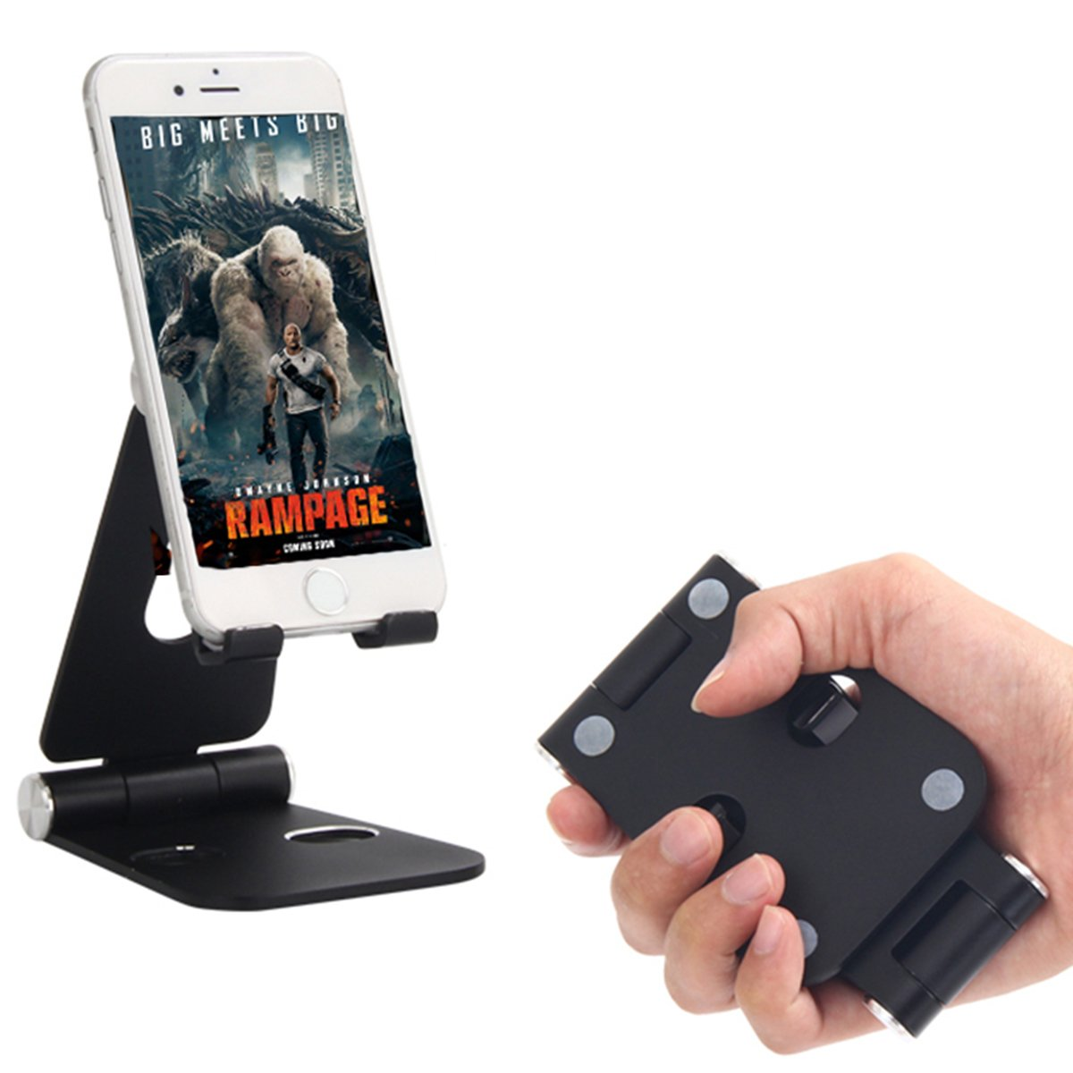 Desktop Stands. Double Aluminum Stand.Table and All Smartphone Device with Durable, Adjustable Panels. Iwacth Charging Stand. Adjustable Aluminum Portable Stand for iPhone/Ipad/Laptops,ect (Black)