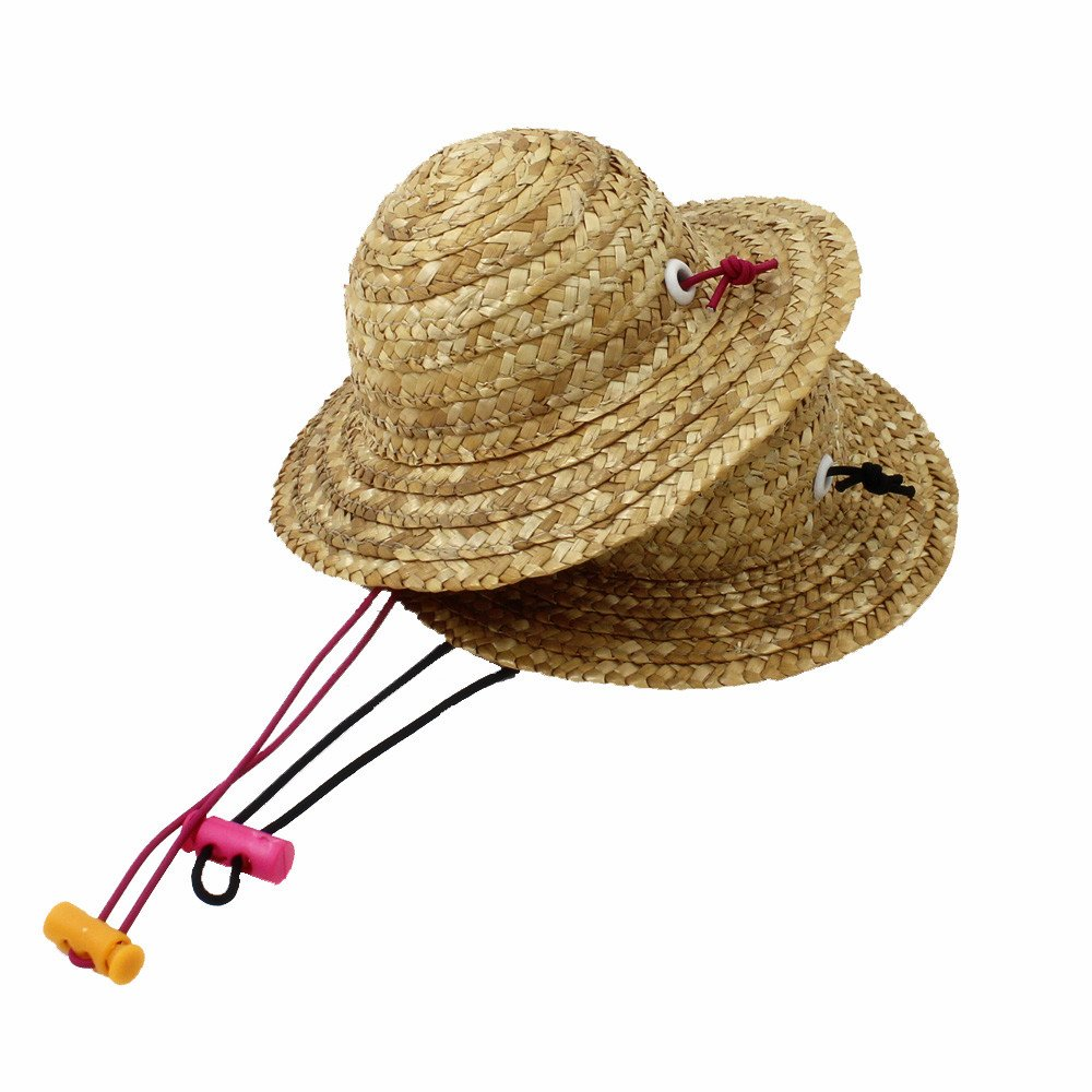 2 Packs Lovely Handcrafted Woven Straw Pet Hat Set Costume Cat Dog Hat Toy Hat Novelty Cosplay Farmer Hat w/ Adjustable Chin String Black Pink
