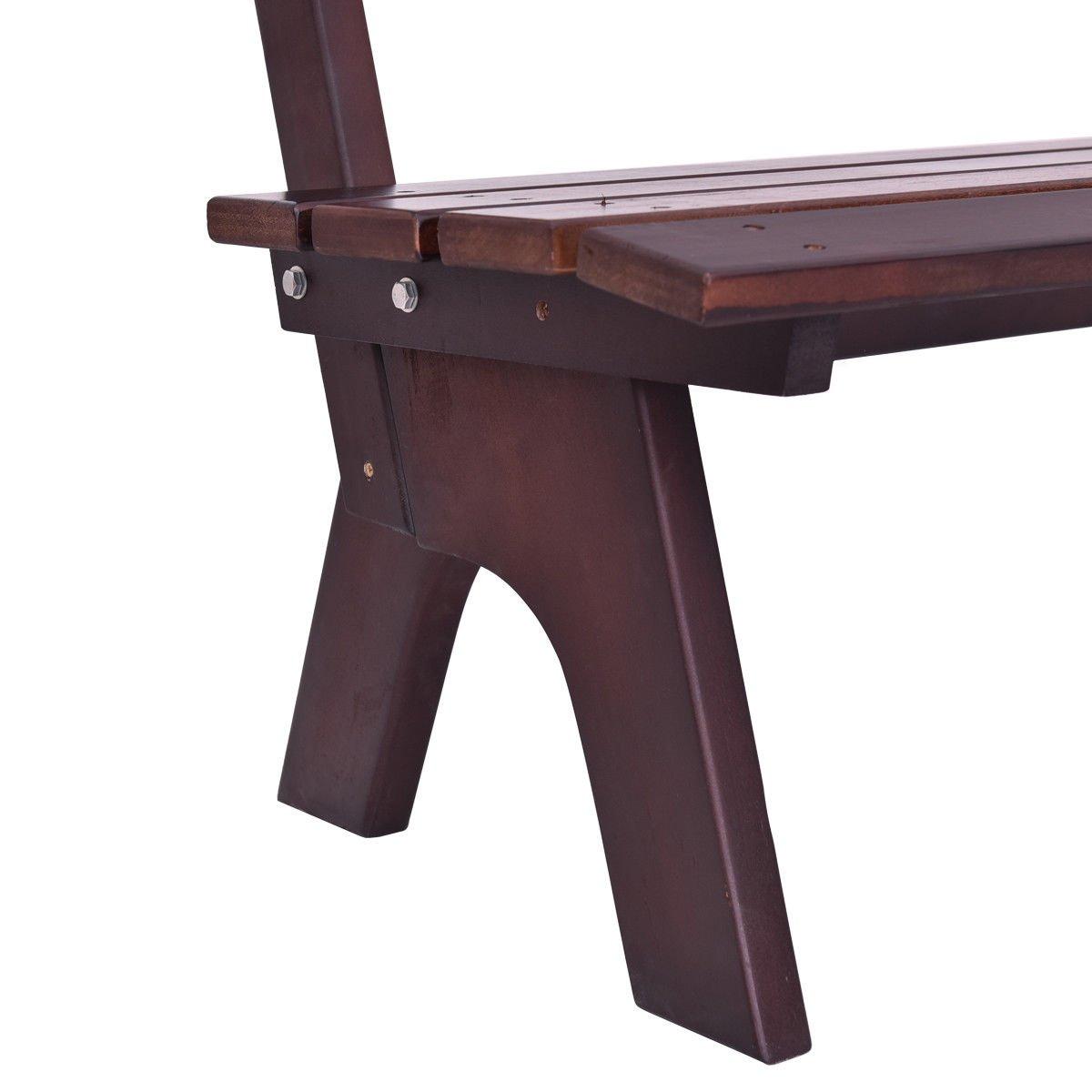 Giantex Wooden Garden Bench Chair Wood Frame Outdoor Yard Deck Furniture 5 Ft 3 Seats (Brown)