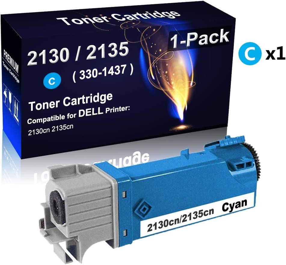High Capacity Compatible 2130cn Cyan 2135cn Printer Cartridge Replacement for Dell 330-1437 Color Toner Cartridge 1-Pack