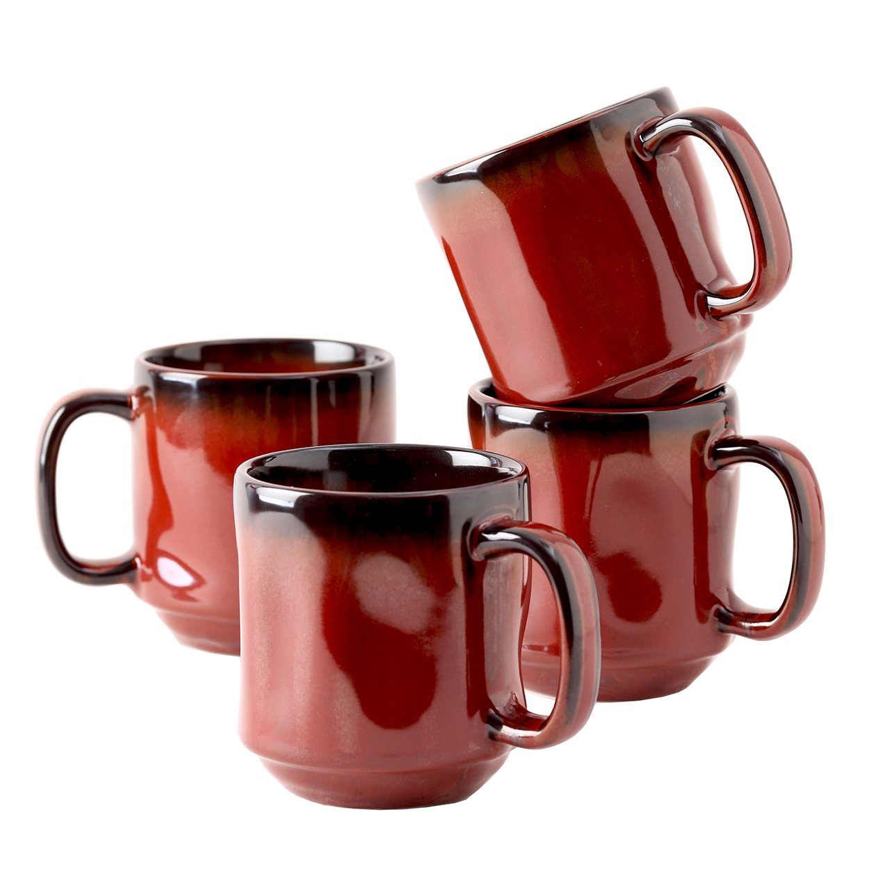 Tuxton Home Artisan Red Rock Mug 12 Oz. Reactive Glaze - Set of 4; Heavy Duty; Chip Resistant; Lead and Cadmium Free; Freezer to Oven Safe up to 500F