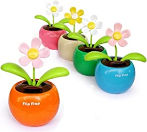 Eshylala Solar Dancing Flower Solar Apple Flower Bobble Plant Rocking Swing Pot for Car Dashboard Office Desk, No Battery Required, No Need to Water
