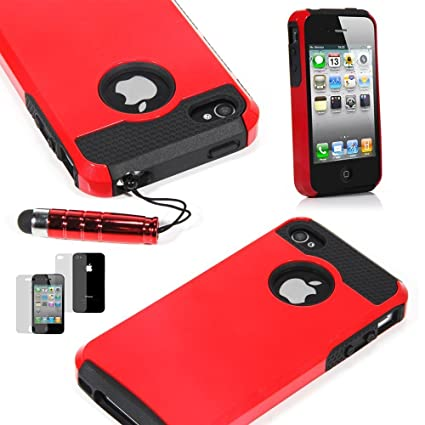 TCD For Apple IPhone 5 5S RED ON BLACK Hybrid Rugged Protective Defender Series