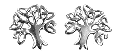 Sterling Silver Celtic Tree of Life Earrings, Studs - BRANDED GIFT BOX