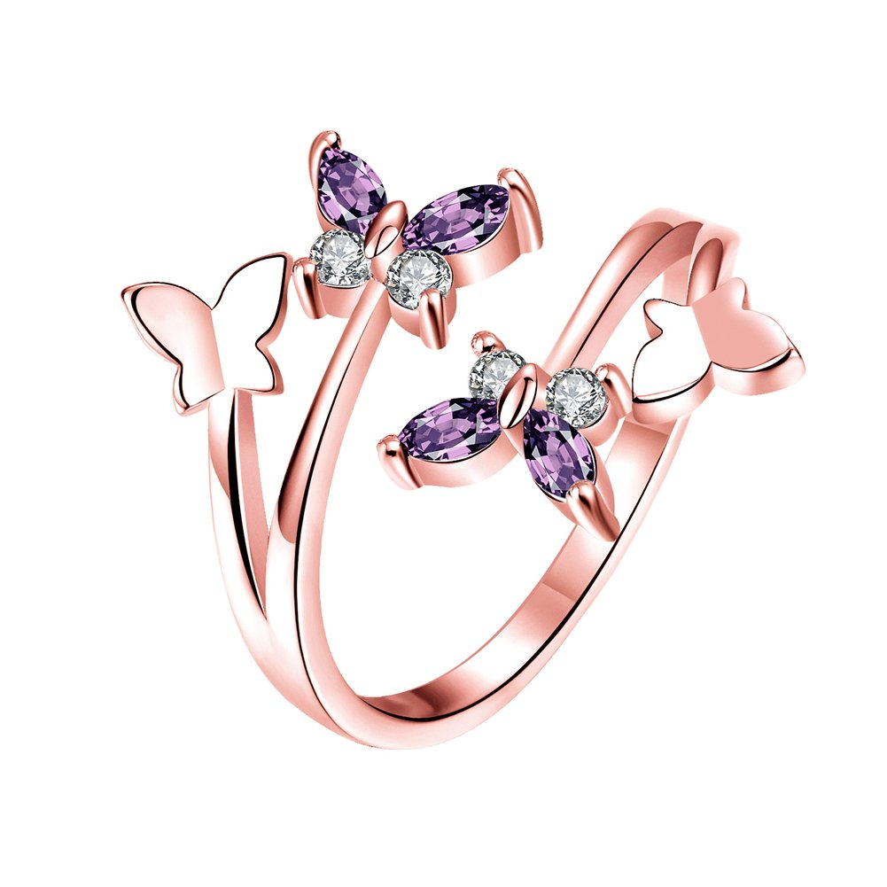 YEAHJOY Women's Adjustable Size Volly Open Rings Butterfly Shape Purple Austrian Crystals Rings (rose-gold-plated-base)